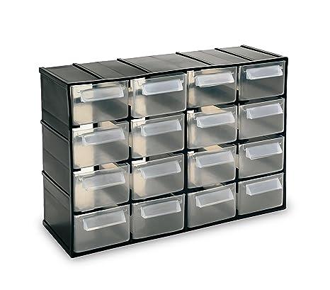 Cassettiere In Plastica Per Minuterie.Media Wave Store 182475 Cassettiera Simply Box In Plastica Rigida Porta Minuteria 16 Cassetti Nero