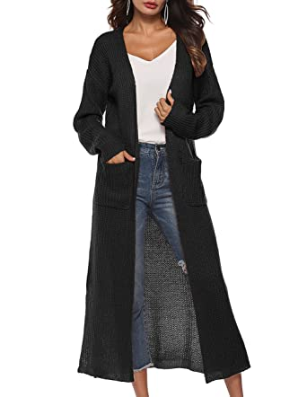 Women s Classic Open Front Lightweight Long Cardigan for Autumn Black d0c0b20c1