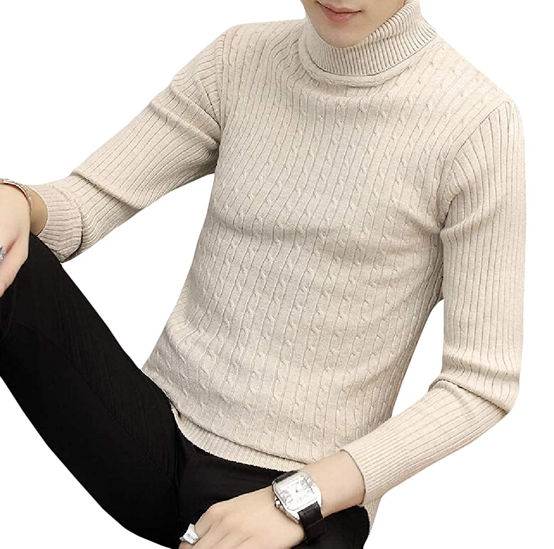 Bigbarry Mens Long-Sleeve Casual Pullover Turtleneck Slim Fit Knit Sweaters