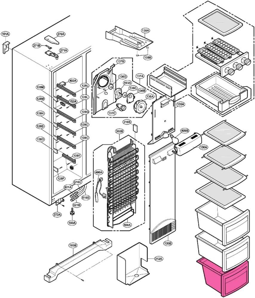 Cajón Inferior Congelador LG GS5262AVJV GS5262AVLV GS5262AVMV ...