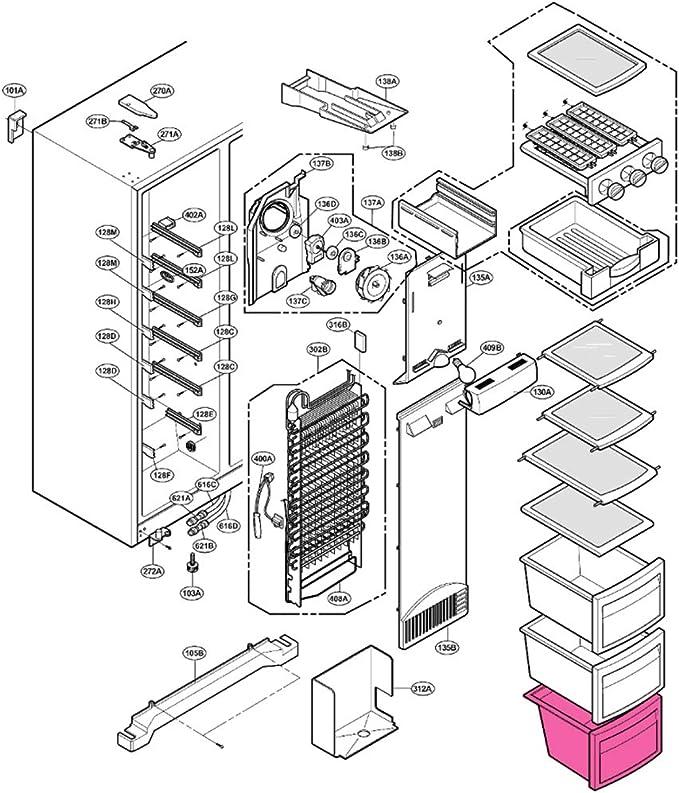 Cajón Inferior Congelador LG GS5263SWGV GS5263SWLV GS5264AVJZ ...