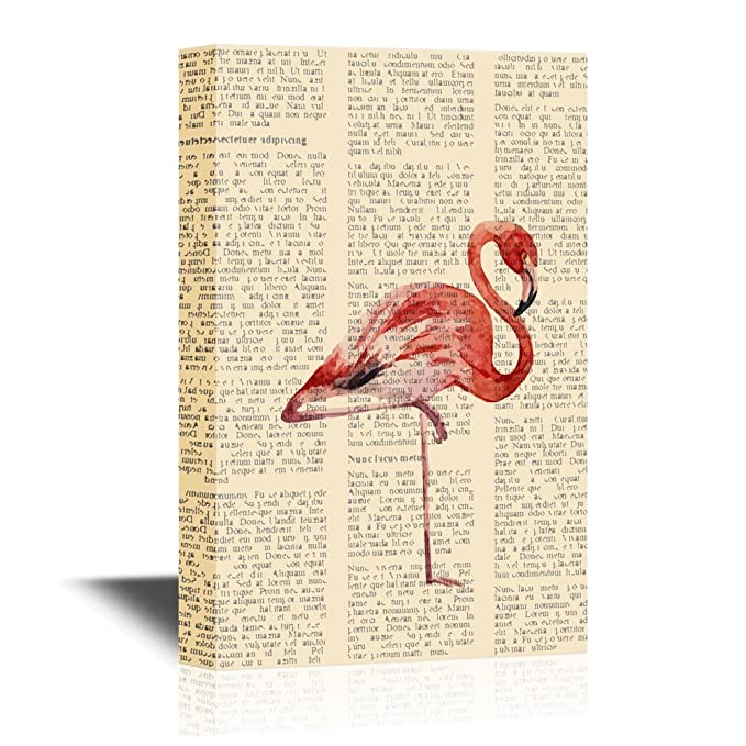 wall26 - Canvas Wall Art - Flamingo Standing with One Leg on Vintage Paper  - Gallery Wrap Modern Home Decor | Ready to Hang - 24x36 inches