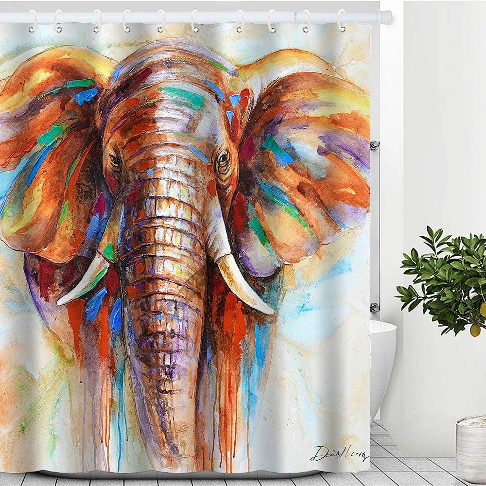 "Artinme Elephant Shower Curtain Watercolor Elephant Painting Shower Curtains Animal Art Print Waterproof Shower Curtains Large Elephant Shower Curtain Set with Hooks Bathroom Decor 72"" x 72"""