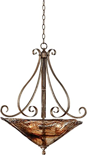 Amber Scroll Golden Bronze Silver Pendant Chandelier 24 3 4 Wide Rustic Art Glass Bowl Fixture for Dining Room House Foyer Kitchen Island Entryway Bedroom Living Room – Franklin Iron Works