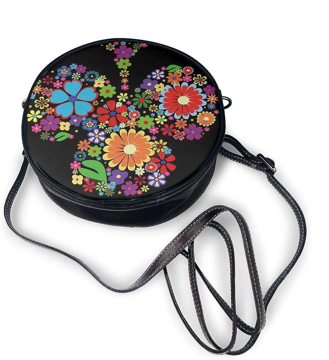 Flower Floral Tree Round Leather Shoulder Bag Fashion Lady Crossbody Wallet Adjustable Top Handbag For Women Girl