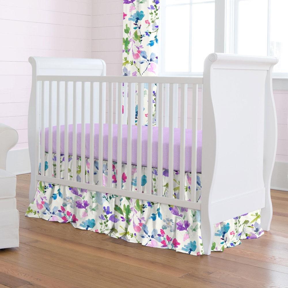 Carousel Designs Bright Wildflower Crib Skirt Gathered 20-Inch Length
