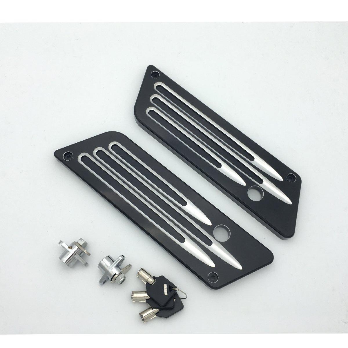 Black Billet Hard Saddlebag Bags Latch Cover Lock Set for Harley-Davidson Touring 1993-2013