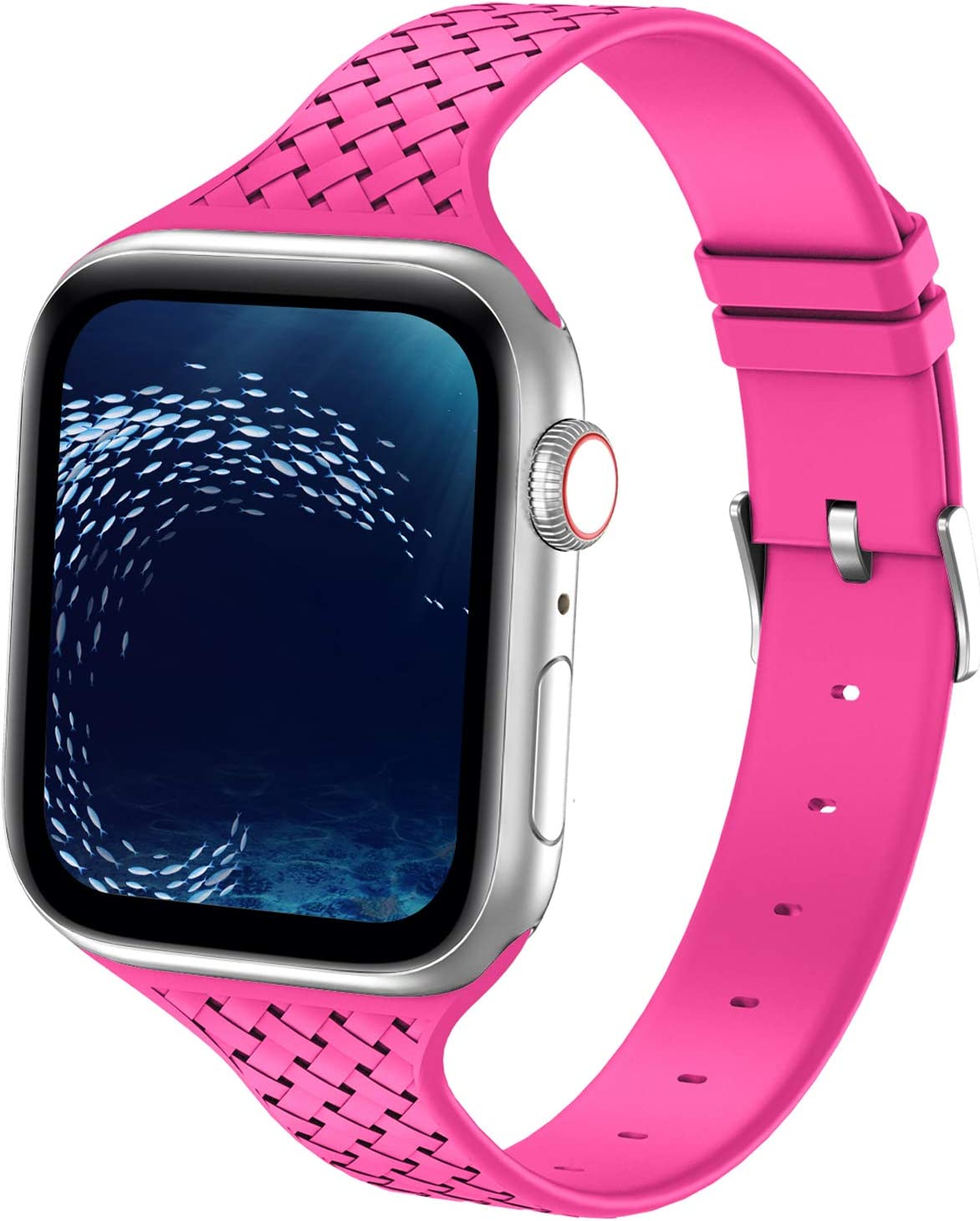 Bandiction Sport Band Compatible with Apple Watch Band 38mm 40mm, Silicone Sport Watch Band Slim Soft Weave Pattern Wristband Women Replacement Strap for iWatch Series 6 SE 5 4 3 2 1(Roseo)