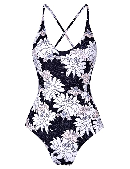 1dcc985f59 MarinaVida Womens Reversible Swimsuit Printing One Piece Bathing Suit with  Crossed Straps at Amazon Women's Clothing store: