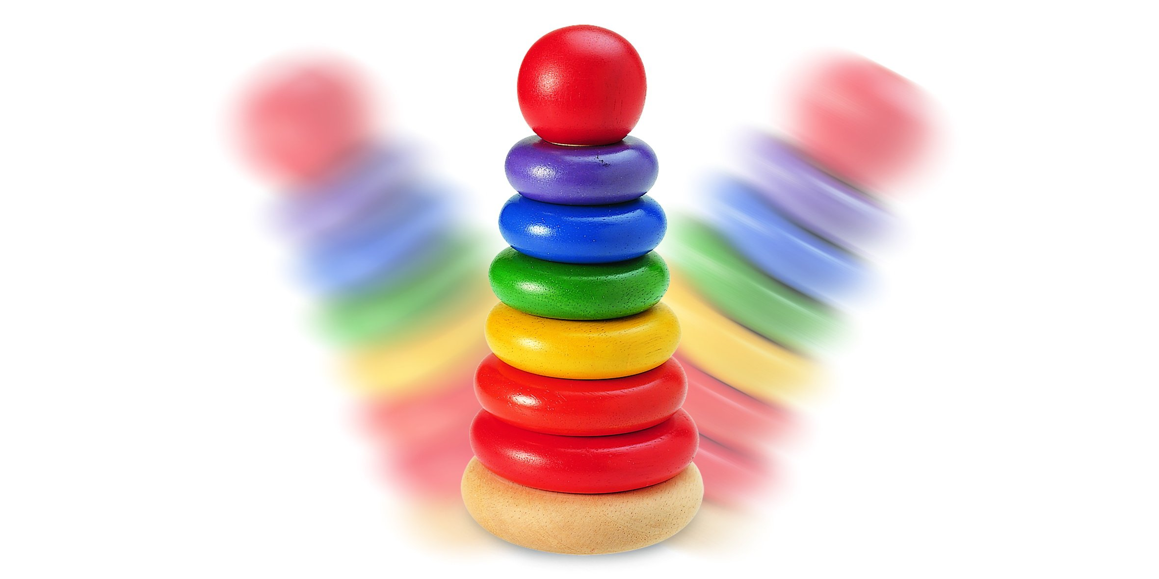 Wonderworld New Stacking Rings Baby Toy - Multi- Colored 7 Rings Non - Toxic by Wonderworld (Image #2)