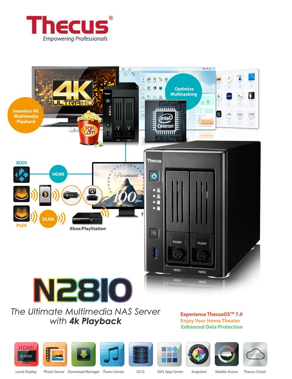 Thecus 2 Bay NAS with Latest OS7 interface (N2810)