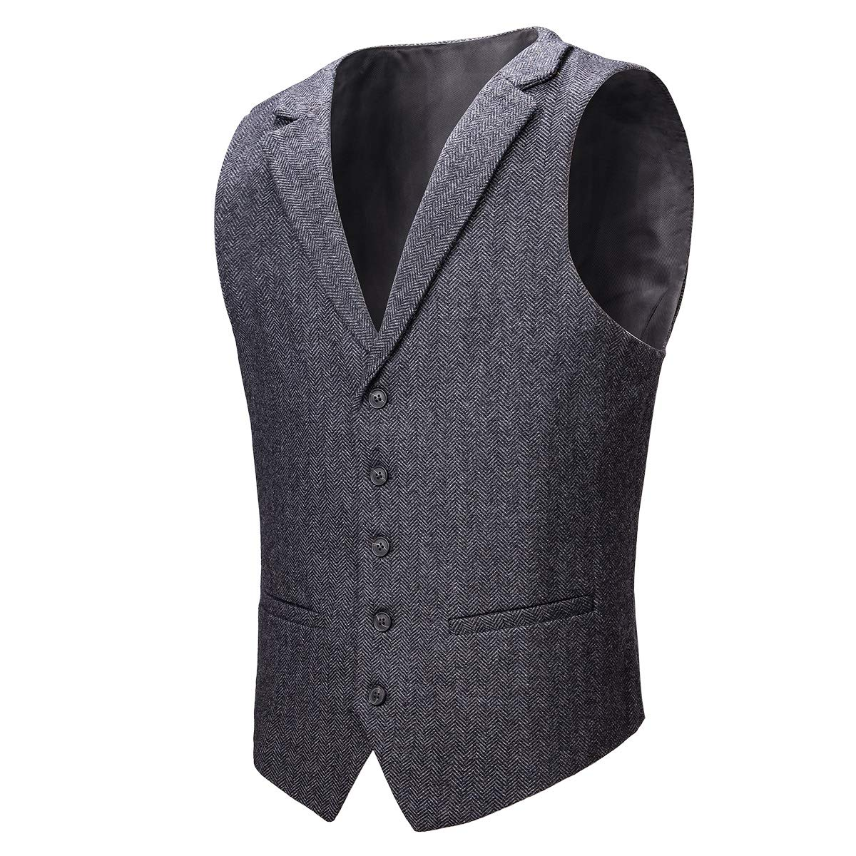 VOBOOM Mens Herringbone Tailored Collar Waistcoat Fullback Wool Tweed Suit Vest (Dark Grey, XXXL) by VOBOOM