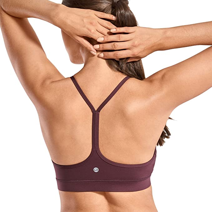 CRZ YOGA Brushed Low Impact Strappy Sports Bra for Women Y Racer Back Yoga Bra Tops with Removable Pads