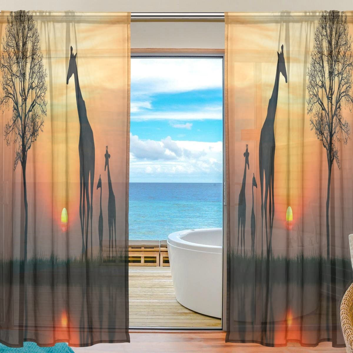 Oreayn African Wildlife Giraffe Sunset Sheer Curtain for Living Room Bedroom,55 x 84 Inches Long,Orange,Window Treatments,Rod Pocket,Polyester Fabric,Set of 2 Panels