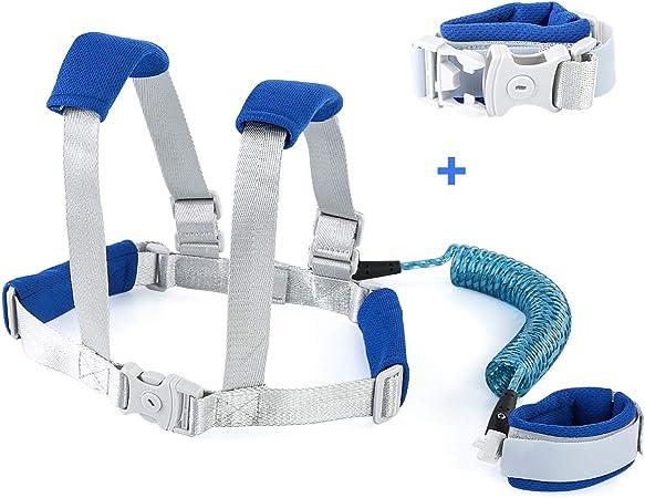 Enlace de muñeca antipérdida para niños, con cinta reflectante antipérdida para bebé, correa de seguridad para caminar (azul)