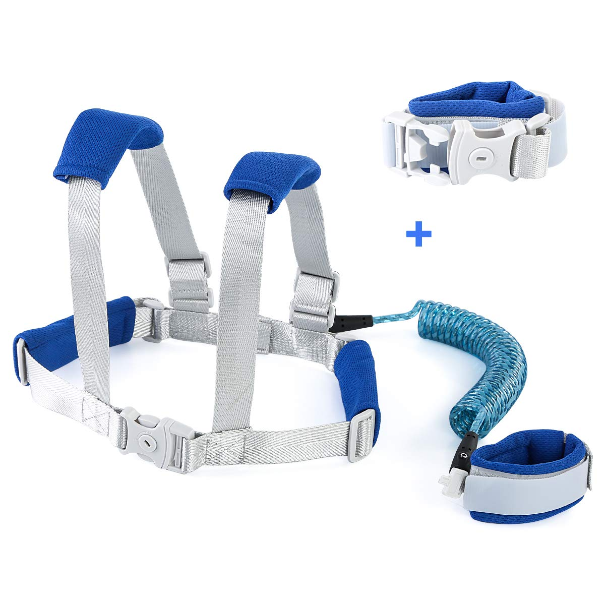 Owlike Anti Lost Wrist Link for Toddler,Safety Wrist Link for Kids with Reflective Tape Anti Lost Harness for Baby Walking Safety Leash Blue