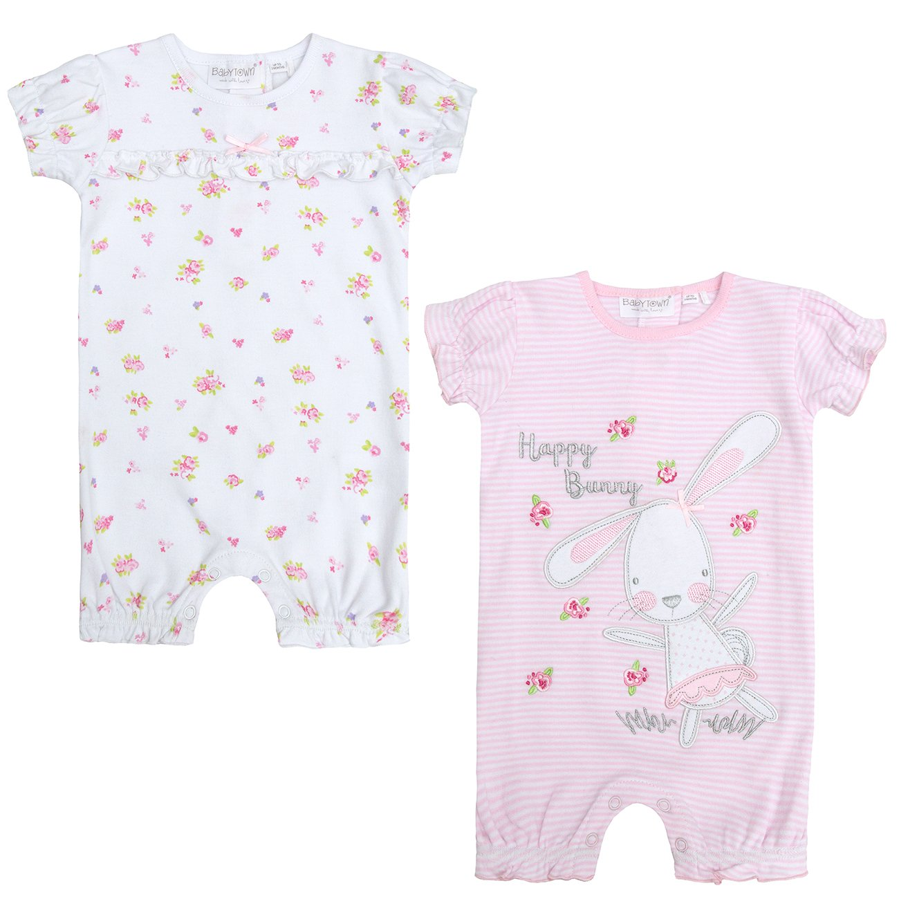 Baby Girls Bunny Frilled Romper Sleepsuit Cotton Newborn - 12 Months BabyTown