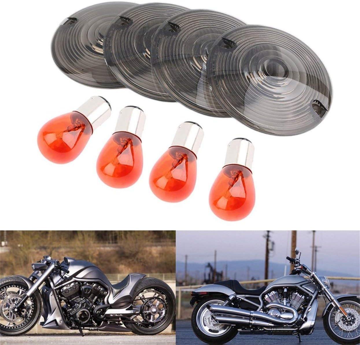 Tree-on-Life 4pcs Fum/ée Clignotant Couvercle De Lentille /& Ampoule Compatible pour Harley Touring Road King