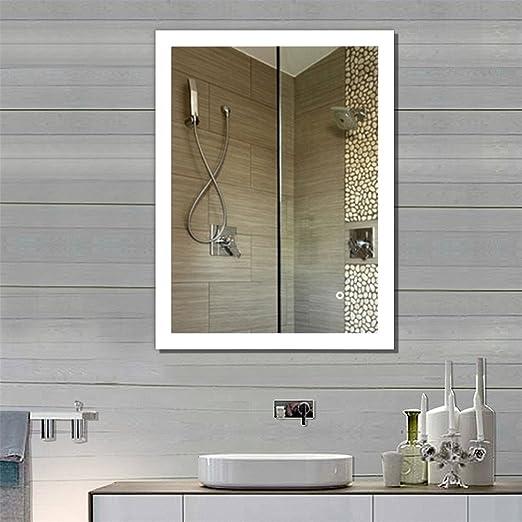 Flyelf Miroir de Mur de Salle de Bains,Commande Tactile éclairée,avec  Fonction Anti-buée,2835 LED Strip Angle Droit (80 * 60cm)