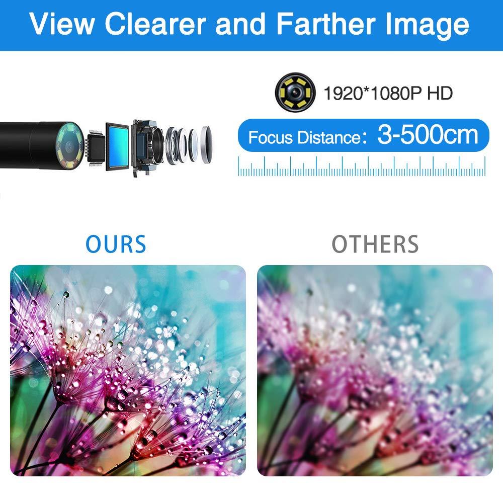 PiAEK Endoscopio WiFi Telecamere di Ispezione Sonda Telecamera Endoscopica 2.0 Megapixel HD 1080P Impermeabile IP68 per iPhone iOS//Android//Smartphone//Tablet 5M