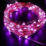 イルミネーションライト ストリングライト LED 2m 電球数20 電池式 結婚式 誕生日 飾りライト スター 電飾 室内室外 防水 電球色 (ピンク)