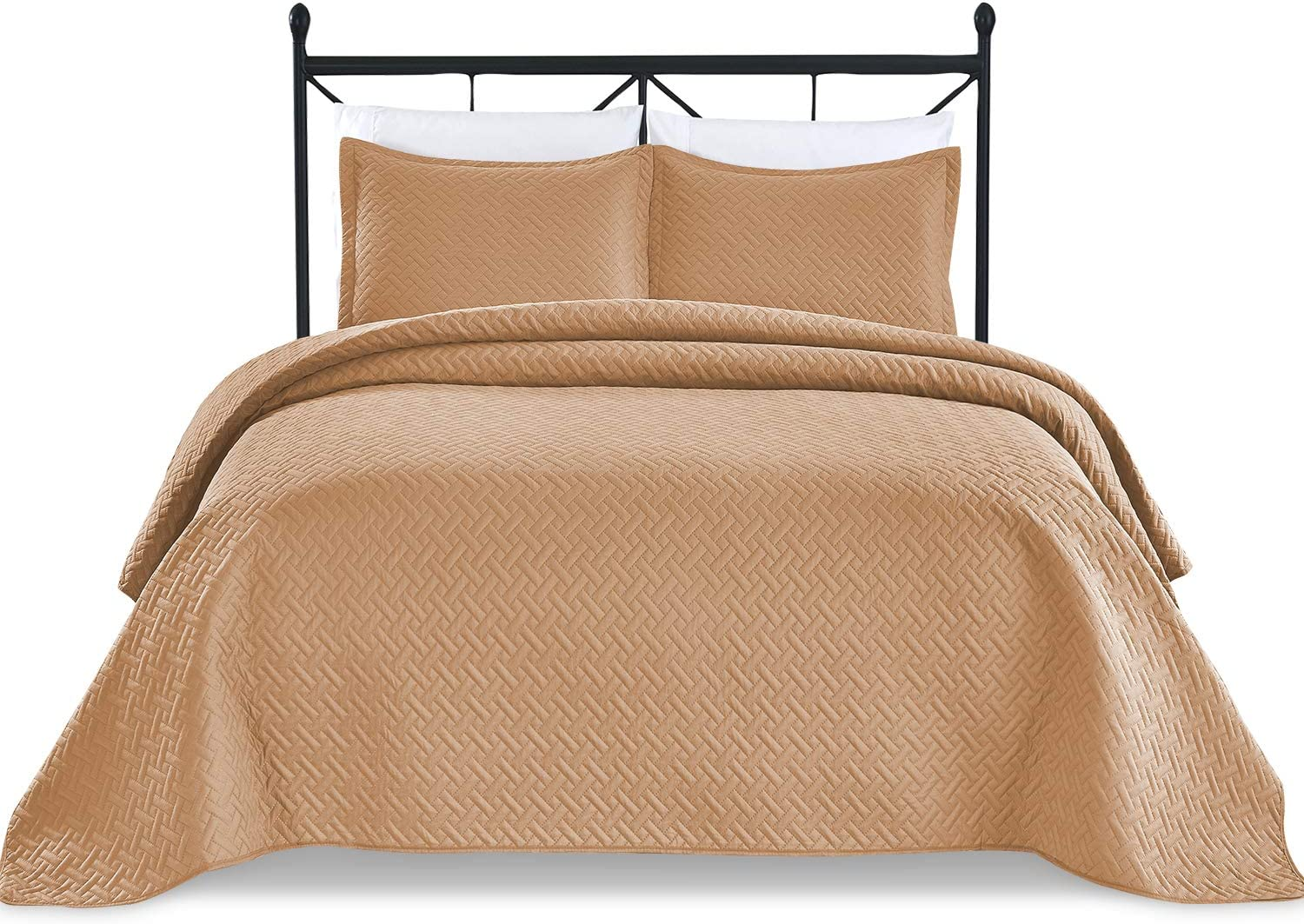 Basic Choice 3-Piece Light Weight Oversize Quilted Bedspread Coverlet Set - Mocha, King / California King