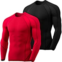 TSLA Men's (Pack of 1, 3) Cool Dry Fit Long Sleeve Compression Shirts, Athletic Workout Shirt, Active Sports Base Layer…