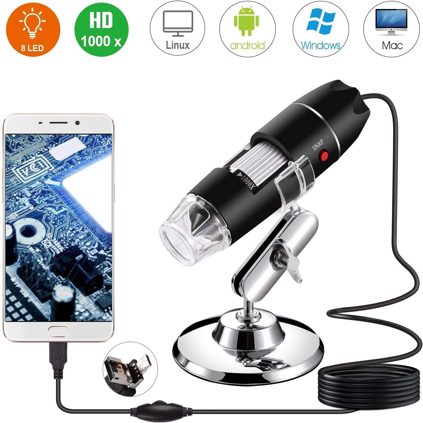 50X to 1000X Magnification Mini Endoscope Camera with 8 LEDs and Microscope Stand,Compatible with Android Adults Mac,Window 7 8 10 for Kids Digital USB Microscope Students