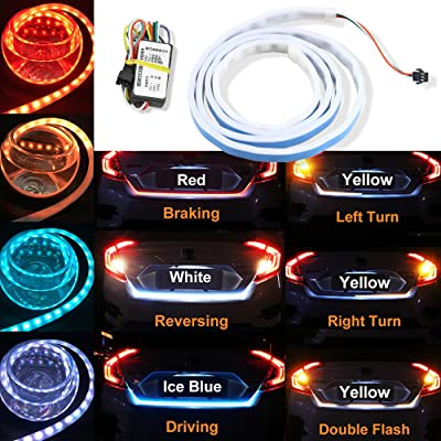"4 Color Flow Type LED Strip Tailgate Turning Signal Lights Bar Trunk Strips Lamp Flowing Side Rear Light 120cm 47"" 48"": Automotive"