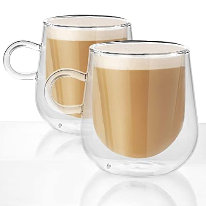 e94fa2f5068 Set of 2 Double Walled Insulated 275ml Glass Mugs | Heat Resistant Thermal  Glass Coffee Cup