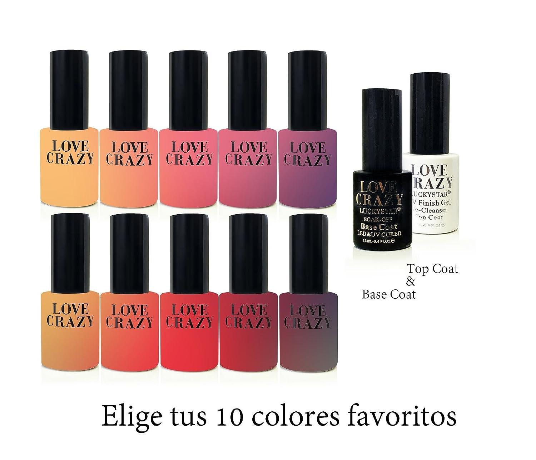 LOVECRAZY - Kit de Esmaltes de Uñas en Gel Semipermanente, 10 Colores de Esmaltes y Top Coat Base Coat: Amazon.es: Belleza