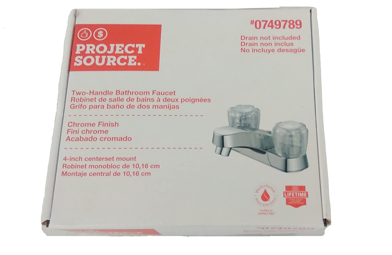 Project Source Chrome 2-Handle 4-in Centerset WaterSense Bathroom ...