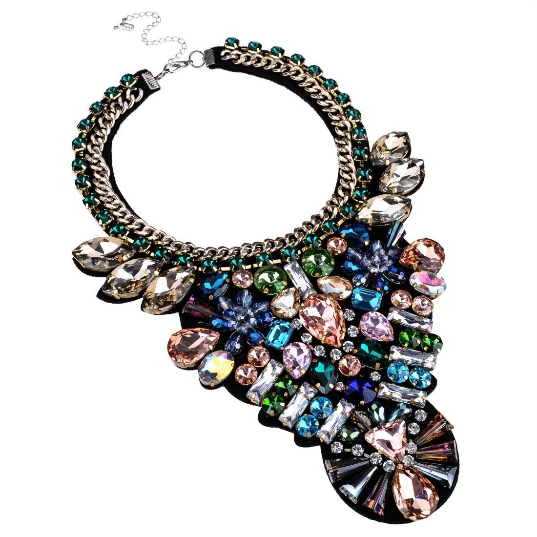 Jerollin Bling Fashion Handmade Gems Clear Multi-color Glass Beads Statement Pendant Necklace