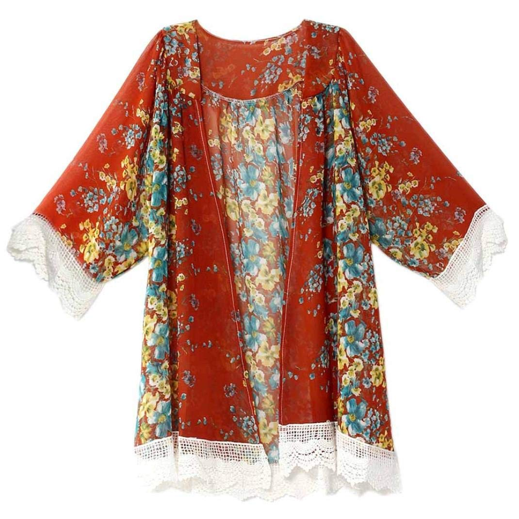 Chiffon Cardigan Tops,Women Printed Shawl Kimono Cover up Blouse S/M/L/XL