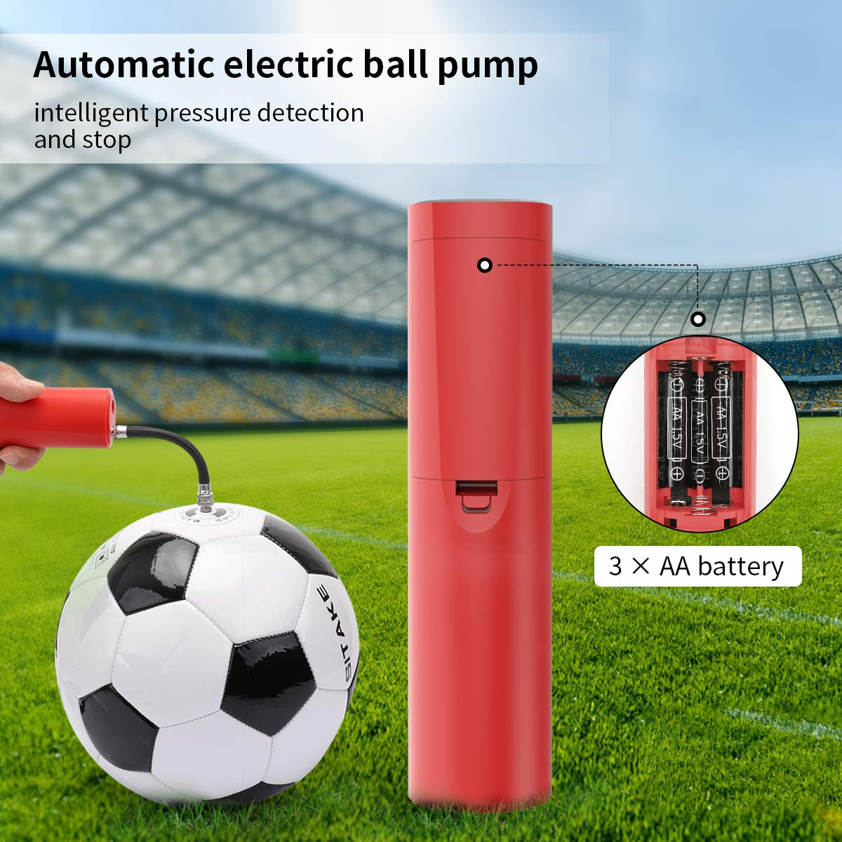 Morpilot Ball Pump, Automatic Electric Fast Air Pump with Needle and Hose, for Your Football, Rugby Ball, Volleyball, Basketball, Handball and Other Inflatable Balls