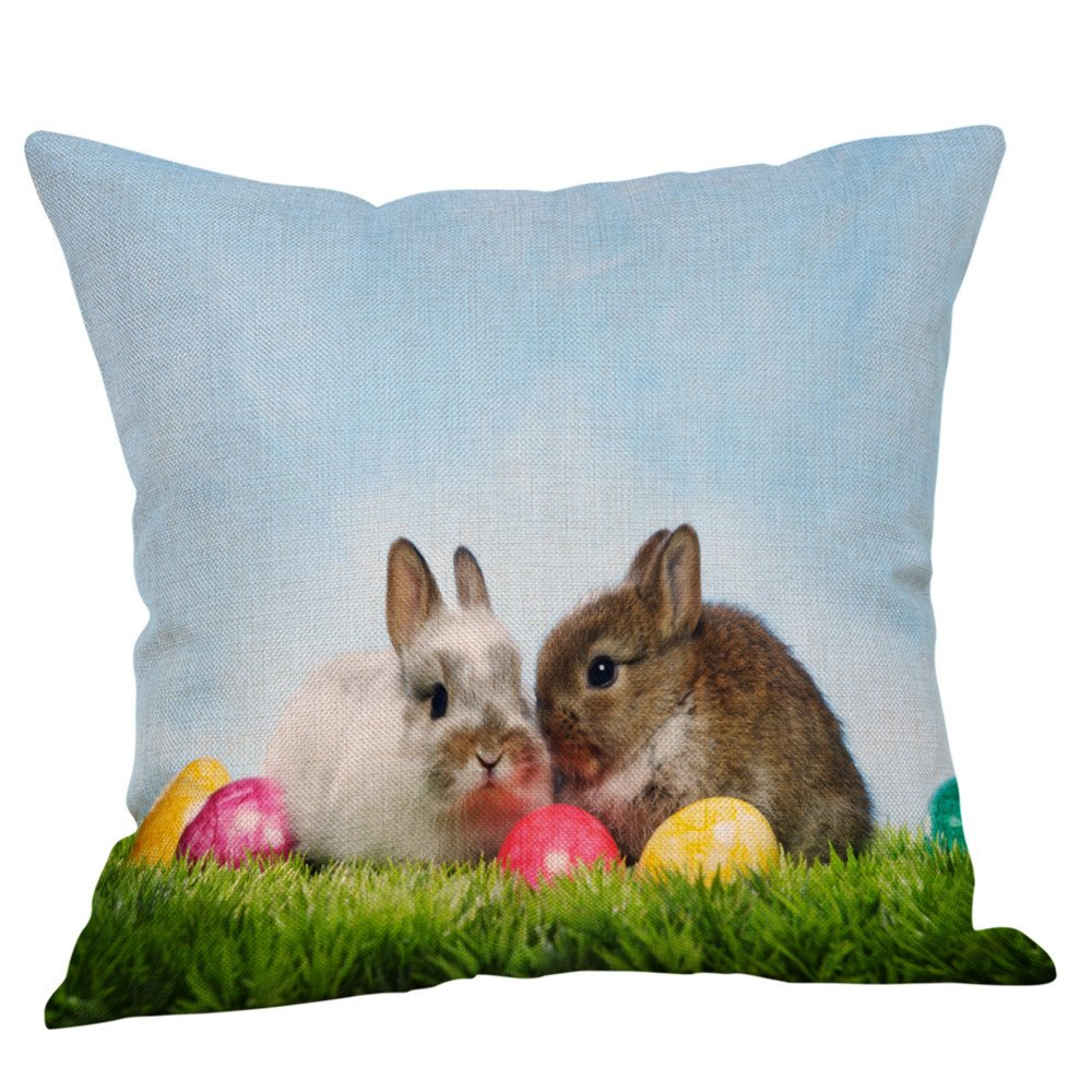 18x18 Inches Easter Gift Colored Eggs Bunnies Burlap Throw Pillow Cover Pillowcase Pillow Case Sofa Decorative Square New Painting Square Bedroom Home Decor (C)