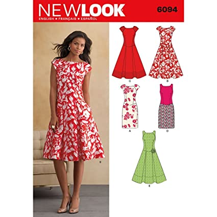 efcae50ef2a2 New Look Sewing Pattern 6094: Misses' Dresses, Size A(8-10-12-14-16 ...