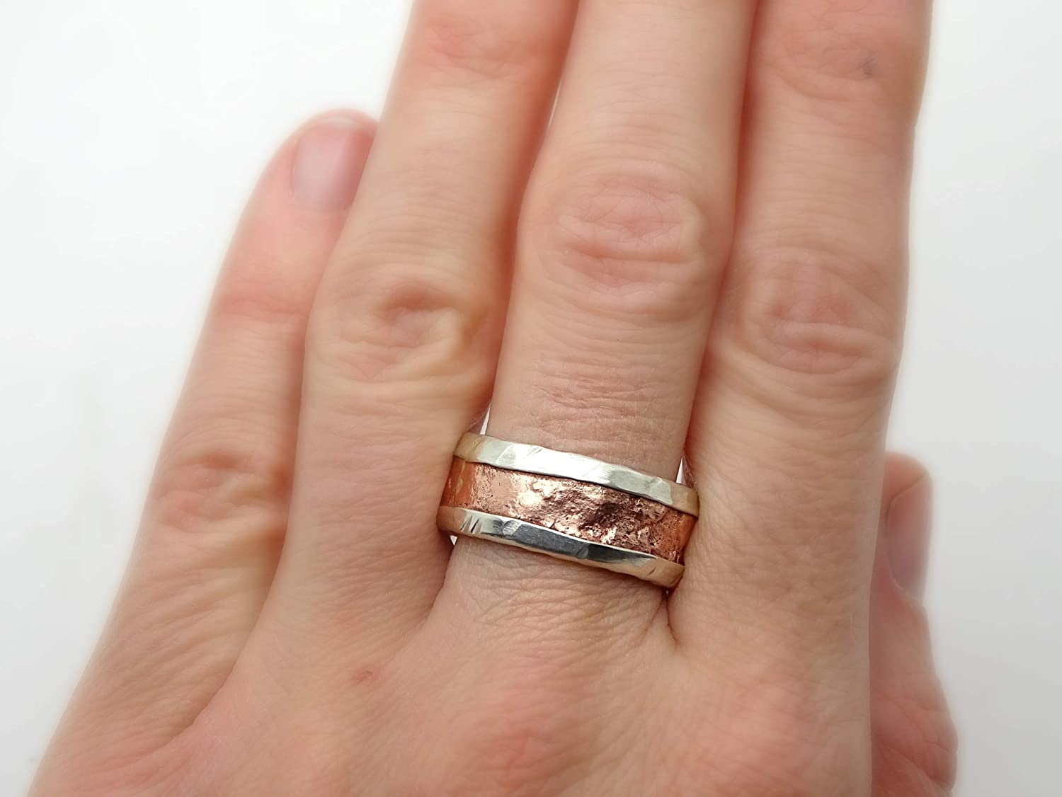 Amazon Com Unique Mixed Metal Ring Cool Mens Ring Copper Silver Mens Wedding Band Rugged Mens Ring Engagement Ring For Men Anniversary Gift For Him Handmade