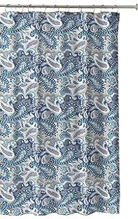 Marine Blue Taupe Beige White Decorative Fabric Shower Curtain Paisley Design