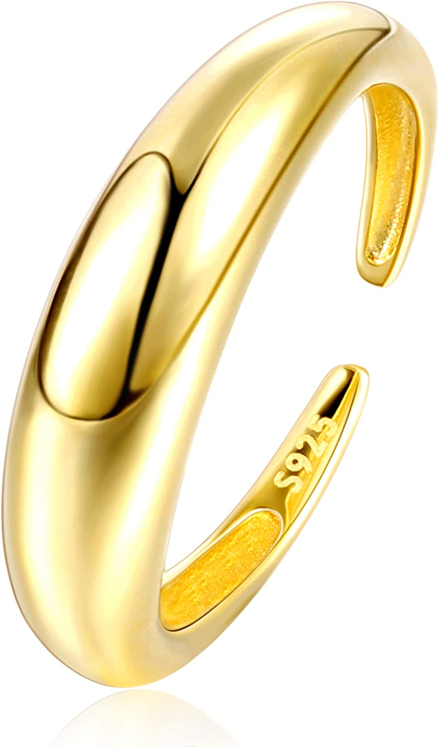 18K Gold Plated Simple and Bold Chic Minimalist Band Rings Stackable Rings