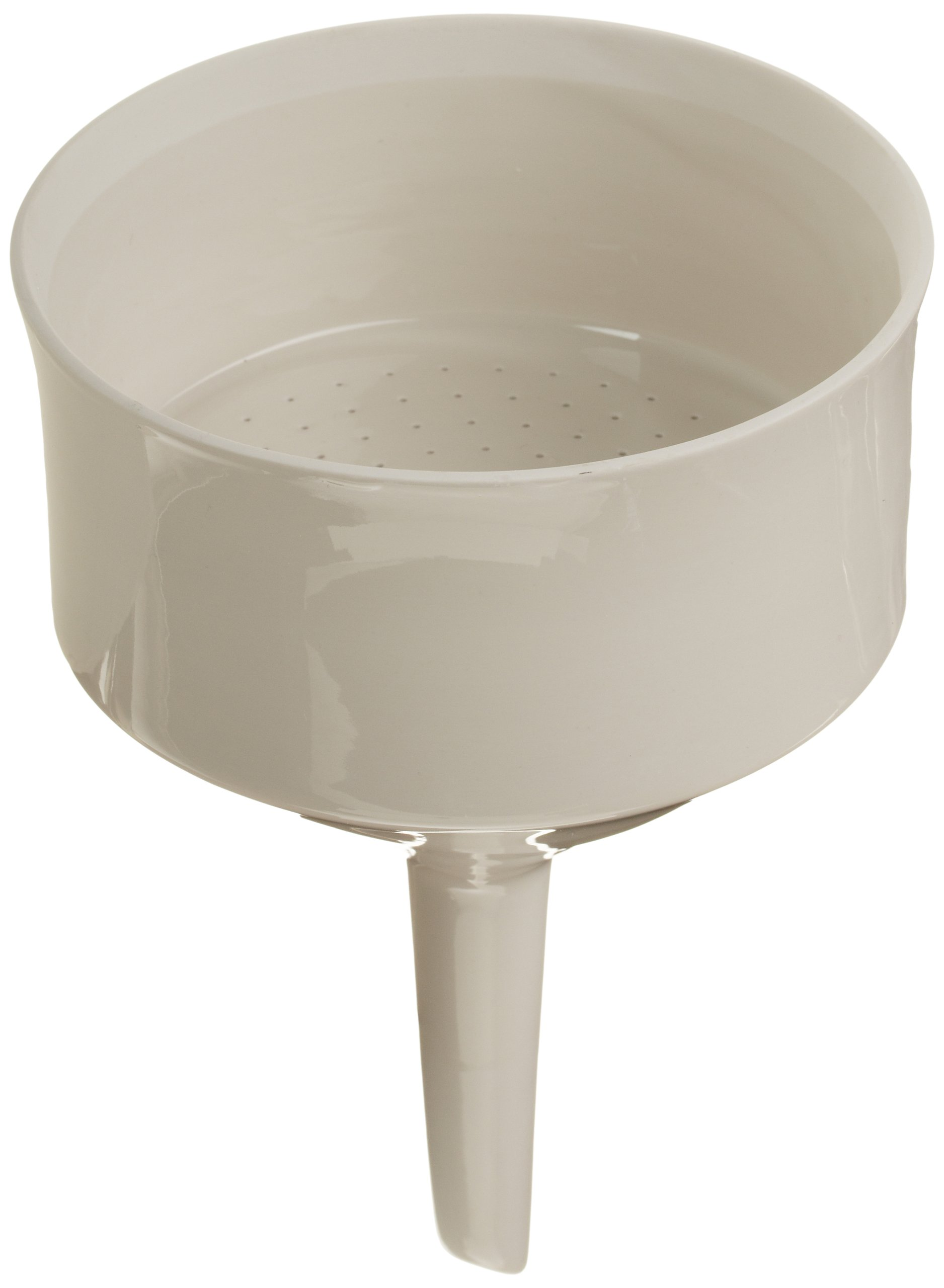 CoorsTek 60244 Porcelain Ceramic Buchner Funnel with Fixed Perforated Plate, 550mL Capacity, 195mm Height, 110mm Filter Paper Diameter