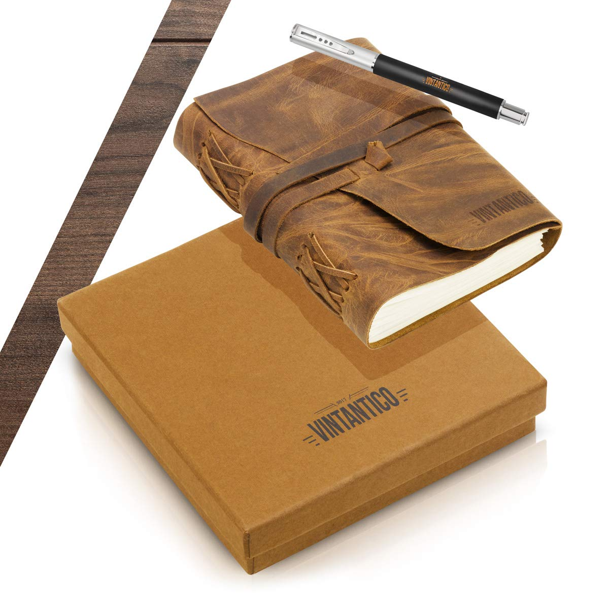 Vintantico Genuine Leather Journal with Writing Pen (Brown) Vintage, Bound, Handmade Cover Recycled Unlined Paper   Men's & Women's Personal Notepad   Incl. Bookmark, Gift Box by Vintantico (Image #4)
