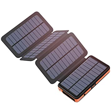 Hiluckey Cargador Solar 25000mAh Portátil Power Bank con USB & USB-C Input Impermeabl Batería Externa para iPhone, iPad, Samsung, Smartphone