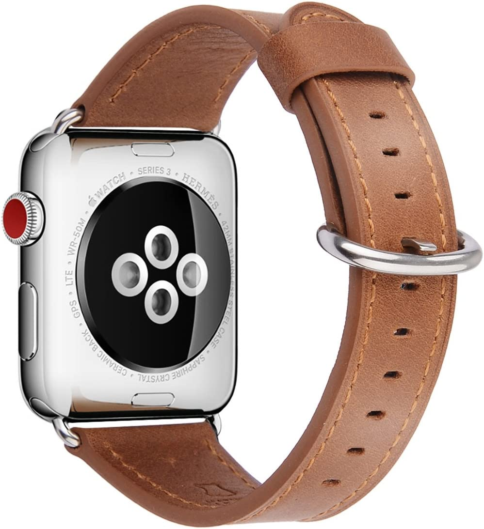 SGJMY Compatible with Apple Watch Band 38mm 40mm 42mm 44mm Women Men Genuine Leather Replacement Strap for iWatch Series SE 6 5 4 3 2 1 (Camel with Silver Stainless Steel Clasp, 38mm/40mm S/M)
