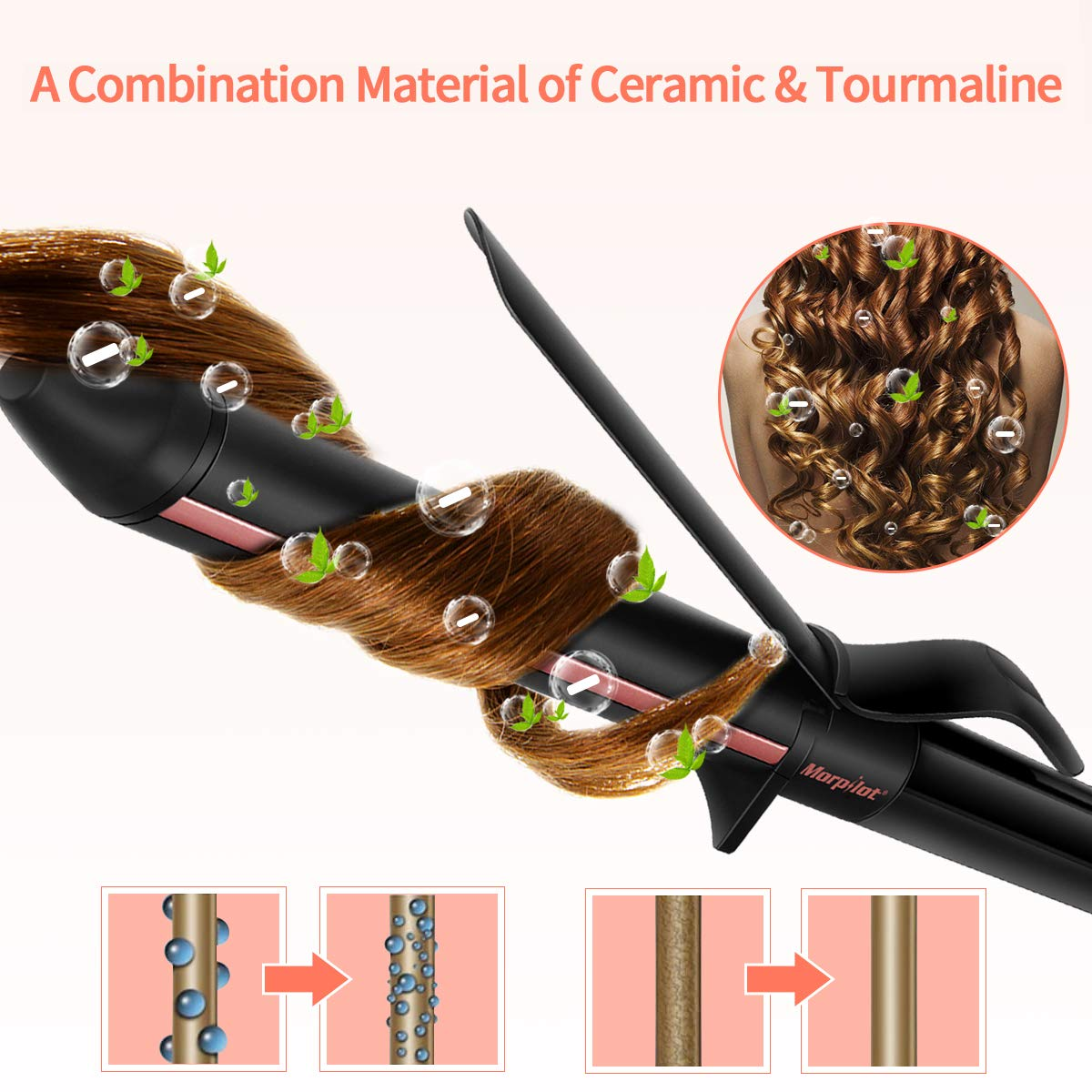 Ceramic Curling Iron,1.25 inch Curling Wand,Tourmaline Coating Hair curler with Rotary Temperature Control LCD Temp Display Include Heat Resistant Glove