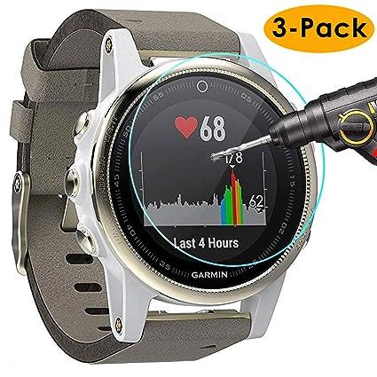 KIMILAR Screen Protector for Garmin Fenix 5S, (3 Pack) Full Coverage 9H  Hardness Tempered Glass Screen Protector for Garmin Fenix 5s Smart Watch  with