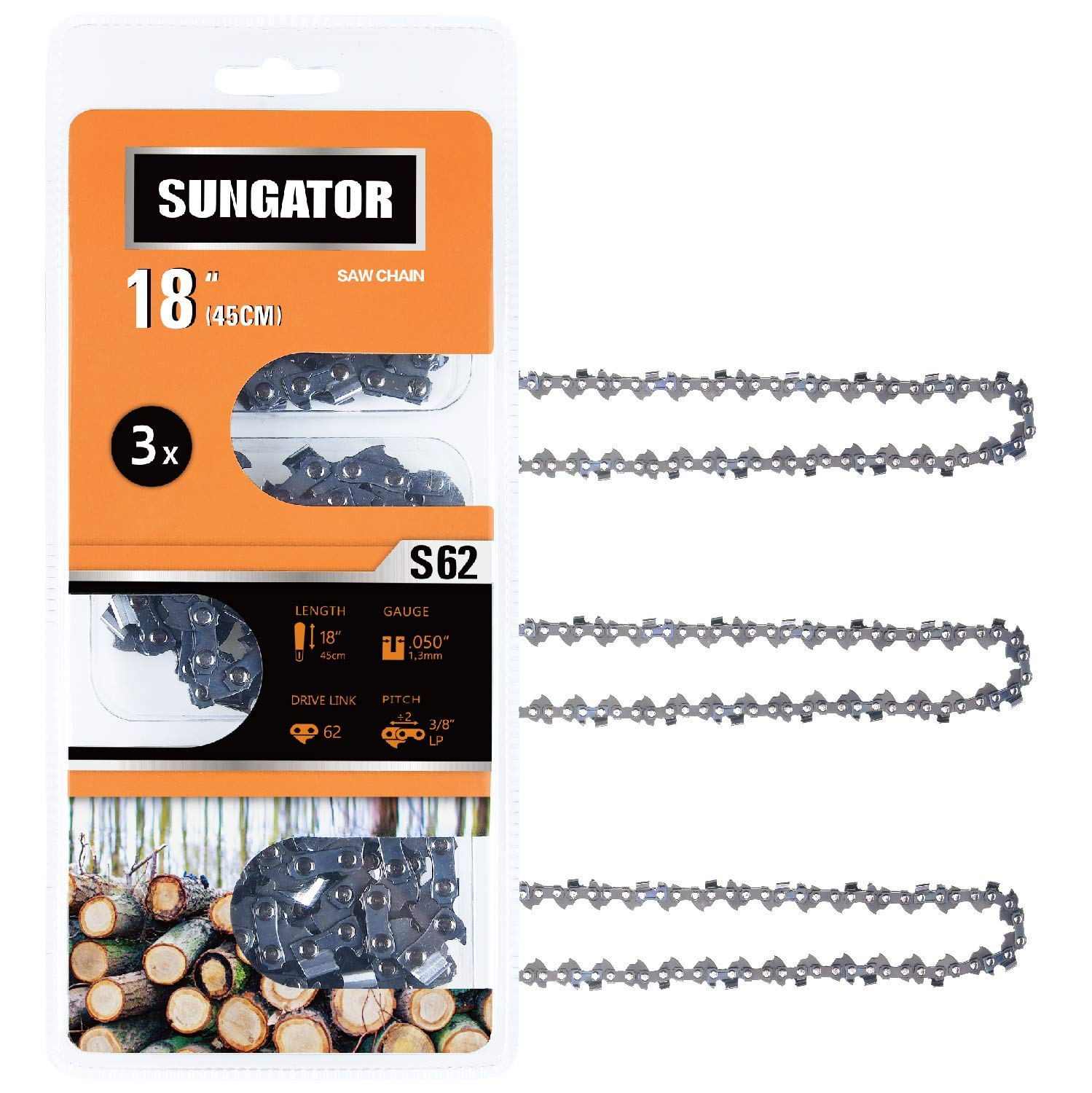 SUNGATOR 3-Pack 18 Inch Chainsaw Chain SG-S62, 3/8'' LP Pitch - .050'' Gauge - 62 Drive Links, Fits Craftsman, Husqvarna, Ryobi, Homelite, Poulan by SUNGATOR
