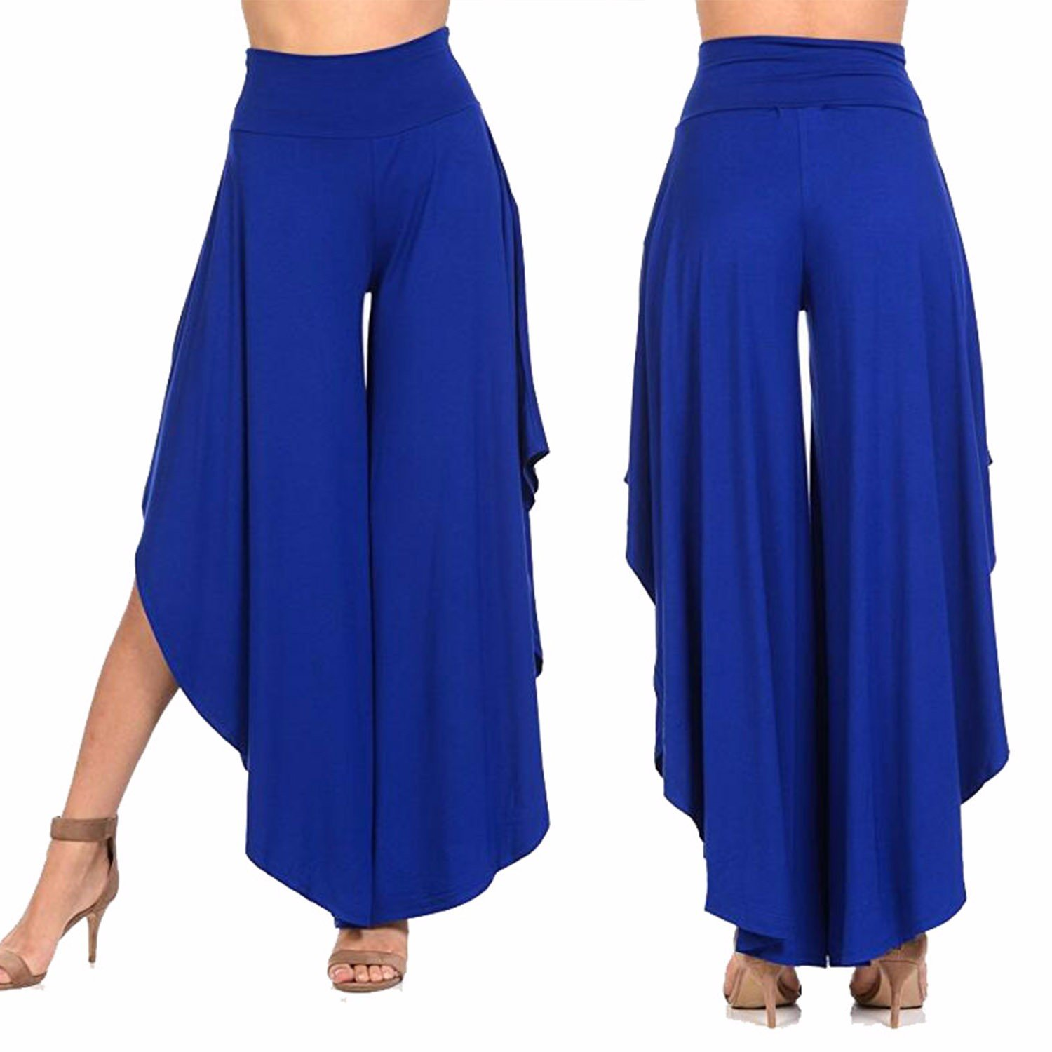 COLO Womens Ruffled Wide Legs Palazzo Pants High Waist Comfy Casual Lounge Pants for Summer #1 Blue (M)