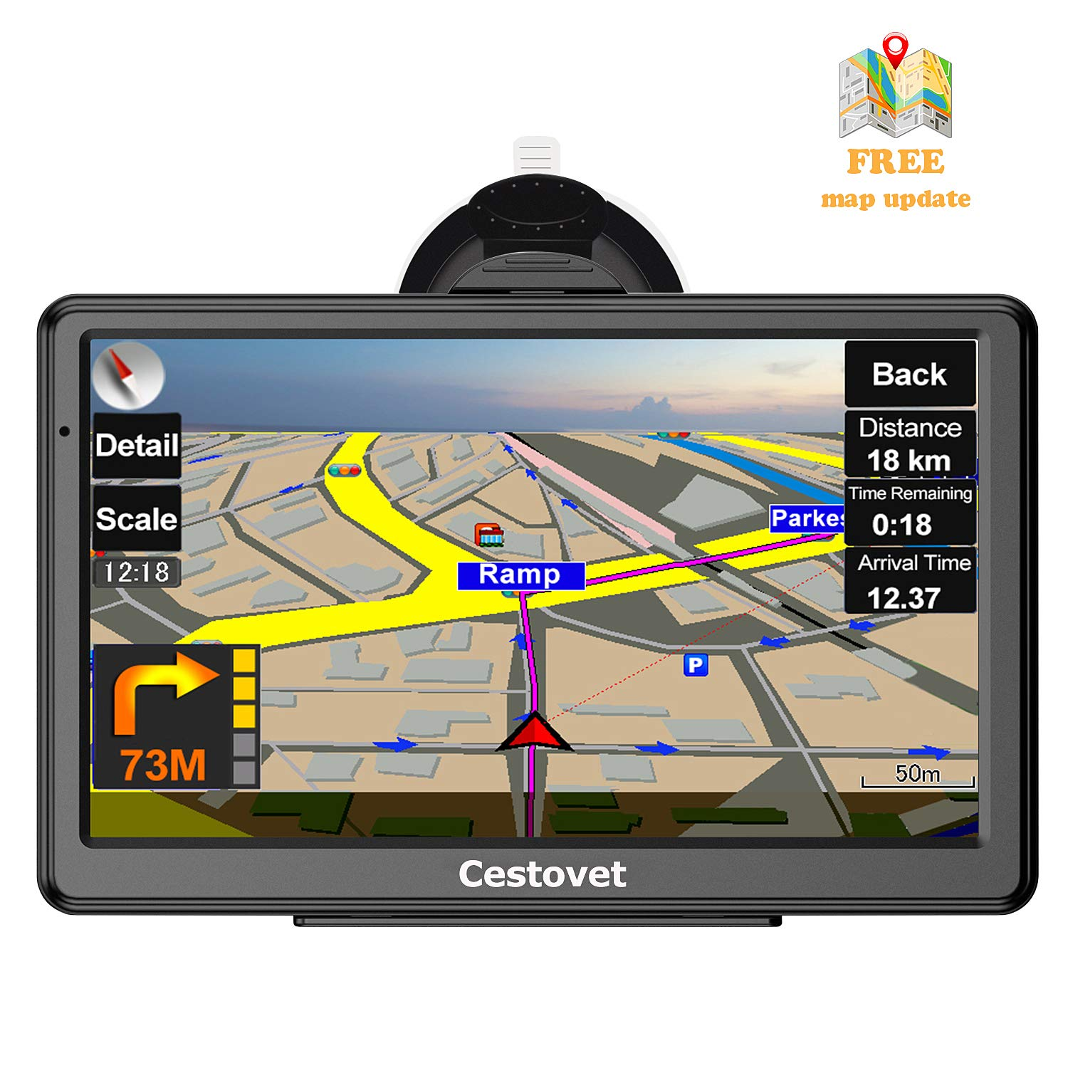 GPS Navigation for Car, 7 Inch HD Touch Screen GPS Navigation System Voice Broadcast Navigation, Free North America Map Updata Contains USA, Canada, Mexico map by Cestovet
