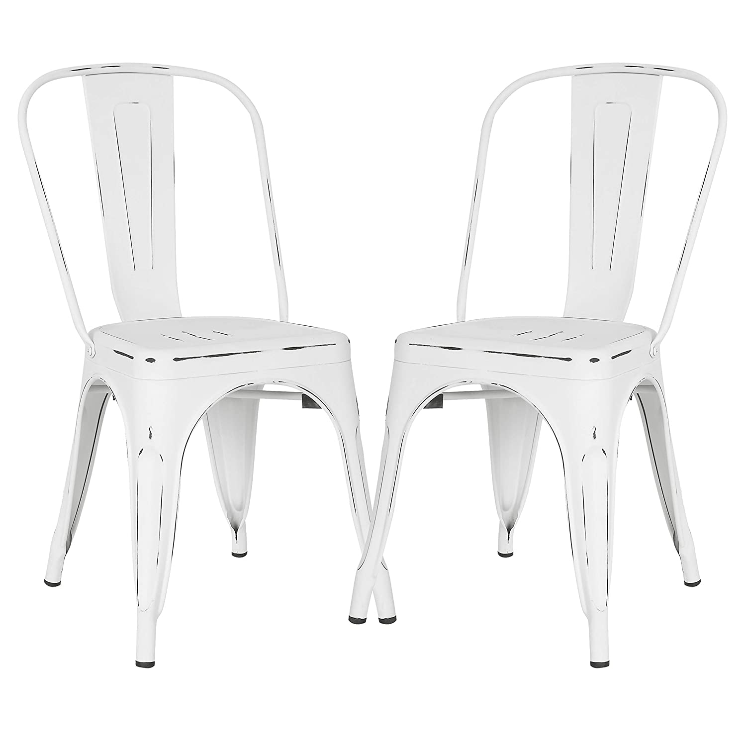 Groovy Poly And Bark Trattoria Kitchen And Dining Metal Side Chair In Distressed White Set Of 2 Uwap Interior Chair Design Uwaporg